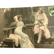 Vintage French Hand-Colored Postcard, RPPC, DB, Two Sexy Ladies