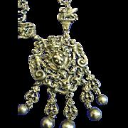 Vintage Peruzzi Sterling Silver Long 31 Inch Necklace w/ Mermaid, Cherub, Griffins, St. Michael