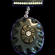 Vintage Black Bakelite and Rhinestones Large Carved Dangling Pin Brooch