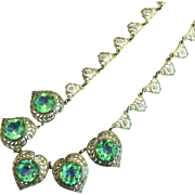 Vintage 1930s Necklace with Open Back Green Blue Stones in Reticulated Chain