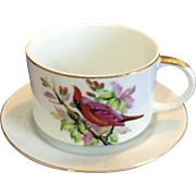 Vintage Large Soup or Dessert or Coffee Cup & Underplate with Pink Bird Design