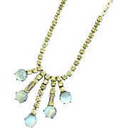 Vintage Leo Glass Light Blue Open Back Glass Cabochon and Rhinestone Dangling Necklace