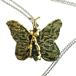 Vintage TH Sterling Hammered Silver and 14k Butterfly Pin Pendant