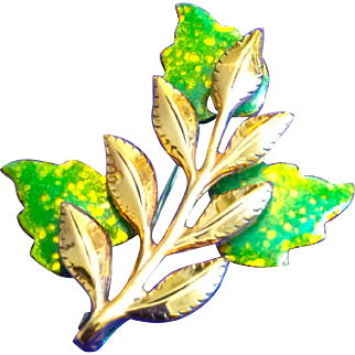 Vintage Renoir 1950s Enamel and Copper Green Leaf Pin Brooch