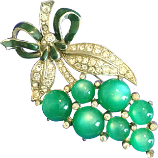 Vintage 1930s Coro Pin Brooch of Green Moonstones, Green Enamel and Tiny Rhinestones