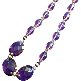 Vintage Miriam Haskell Purple Faceted Glass Necklace