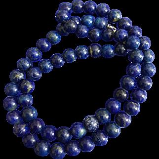 Vintage 17 Inch Blue Lapis Lazuli Round Bead Necklace