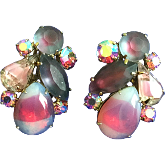 Vintage Coro Earrings with Rivoli, Satin, and AB Pink Purple Stones