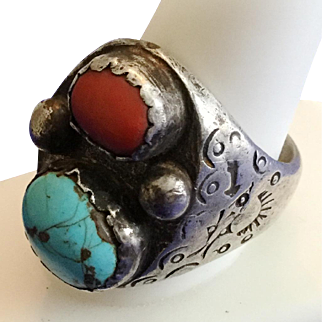 Vintage Man's Sterling Ring, Native American Turquoise & Orange Stone With Symbolic Markings
