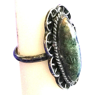 Vintage Mexico Sterling Turquoise Ring, Pre-1979, With Scrolled Surround, Size 7.5