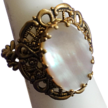 Vintage Ring with Mother of Pearl and Woven Gold Wire From West Germany