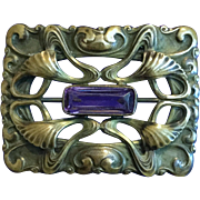 Antique Art Nouveau Large Rectangle Pin Brooch with Amethyst Purple Glass Stone