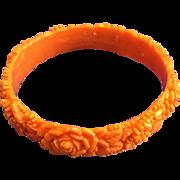 Vintage Orange Carved Celluloid Bangle Bracelet
