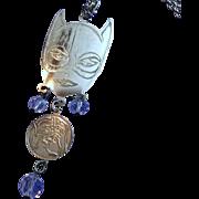 Vintage Catwoman Super Heroine Silvertone Long Necklace