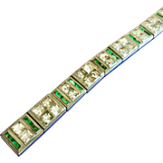 Vintage Art Deco Allco Emerald and Clear Rhinestone Line Bracelet