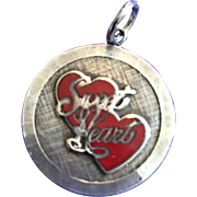 "Vintage Sterling Enamel Charm ""Sweetheart"""