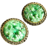 Alice Caviness Vintage Green Art Glass Asian Design Round Earrings