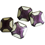 Vintage Sterling Silver and Violet Purple Guilloché Enamel Cufflinks