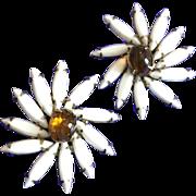 Weiss Vintage White Star Pinwheel Flower Earrings
