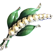 Trifari Alfred Phillipe Vintage Lily of the Valley Enamel Fur Clip, 1940