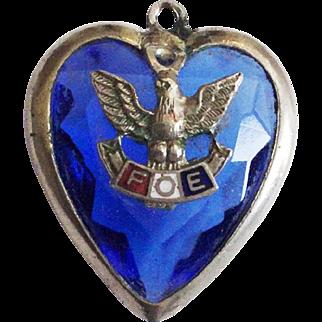 Vintage FOE Fraternal Order of Eagles Blue Glass Charm or Pendant