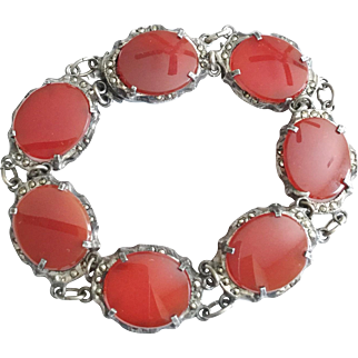 Vintage Carnelian, Sterling Silver, and Marcasite Italy Bracelet