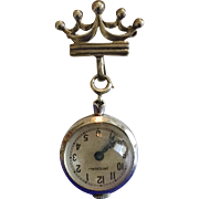Antique Bubble Glass Crystal Imperial (Running) Watch on Sterling Silver Crown Watch Holder