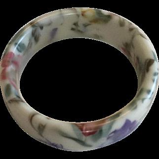 Vintage Porcelain China Purple, Red, Blue Bangle Bracelet
