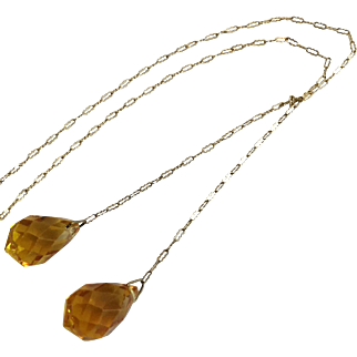 Vintage Lariat 1930s Necklace with Highly-Faceted Topaz Glass and Delicate Chain