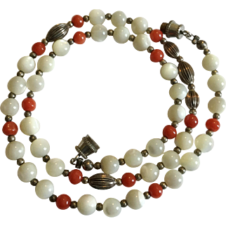 Vintage Mother Or Pearl Bead, Coral Bead, and Sterling Silver Bead 16 Inch Necklace