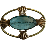 Vintage Large Sky Blue Etched Diana Glass Pin Brooch Set in Dual Color Goldtone