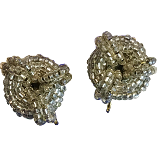 Vintage Grey Silver Beaded Clip Earrings with 100s of Beads
