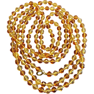 Vintage 1930s Light and Dark Amber-Colored Glass Long 60 Inch Necklace