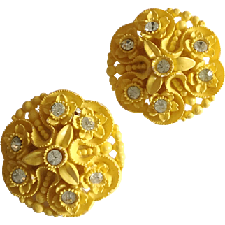 Vintage Yellow Carved Celluloid and Rhinestone Clip Earrings