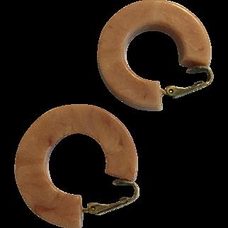 Vintage Pink Beige Emmons Bakelite Hoop Earrings