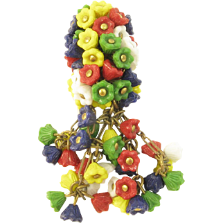 Miriam Haskell Colorful Glass Flower Dress Clip