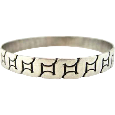 Sterling Silver Vintage Mexico Bangle Bracelet