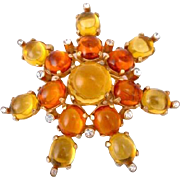 Castlecliff Yellow & Orange Cabochon Burst Pin