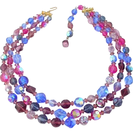 Hattie Carnegie Colorful Faceted Glass Bead Necklace