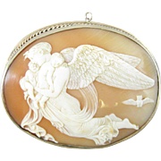 Exquisite Goddess of the Night Nyx 14k Large Cameo Pin/Pendant
