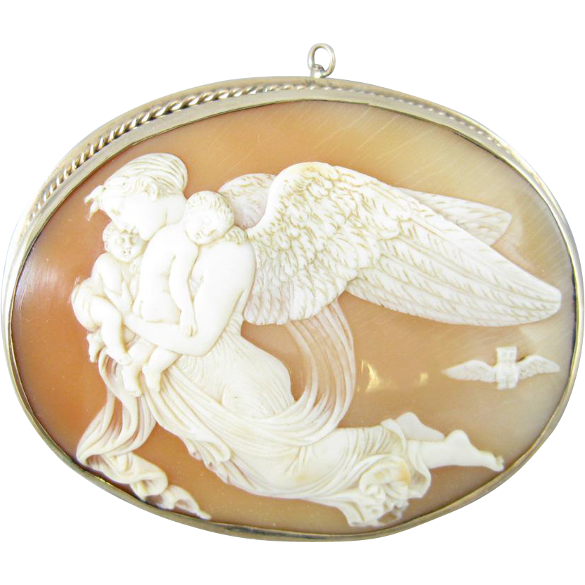 Exquisite Goddess of the Night, Nyx, 14k Cameo Pin/Pendant