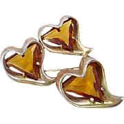 Topaz Rhinestone Three Heart Pin