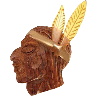 Large Bakelite and Wood Native American 1930s Pin