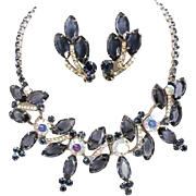 Juliana, DeLizza & Elster,  Sapphire                 Blue Rhinestone Necklace and Earrings