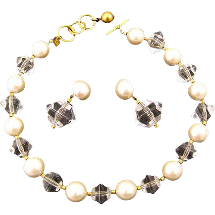 Anne Klein Lucite and Plastic Pearl Necklace and Earrings