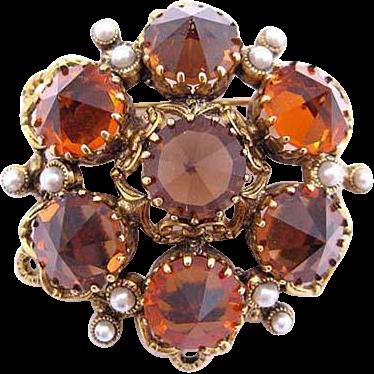 Austria Orange and Topaz Rhinestone Pin