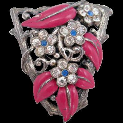 Trifari Pink Enamel Leaf and Rhinestone Flower Dress Clip