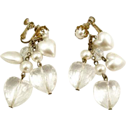 Miriam Haskell Pearlized and Lucite Heart Dangle Earrings