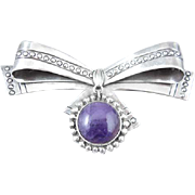 William Spratling Sterling Silve Amethyst Bow Pin/Brooch