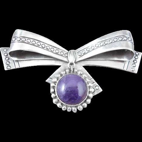 William Spratling Sterling Silver Amethyst Bow Pin/Brooch